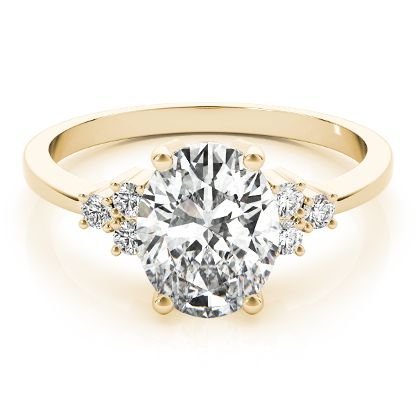 Oval Cluster Diamond Engagement Ring Yellow Gold