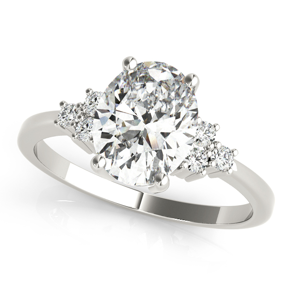 Oval Cluster Diamond Engagement Ring