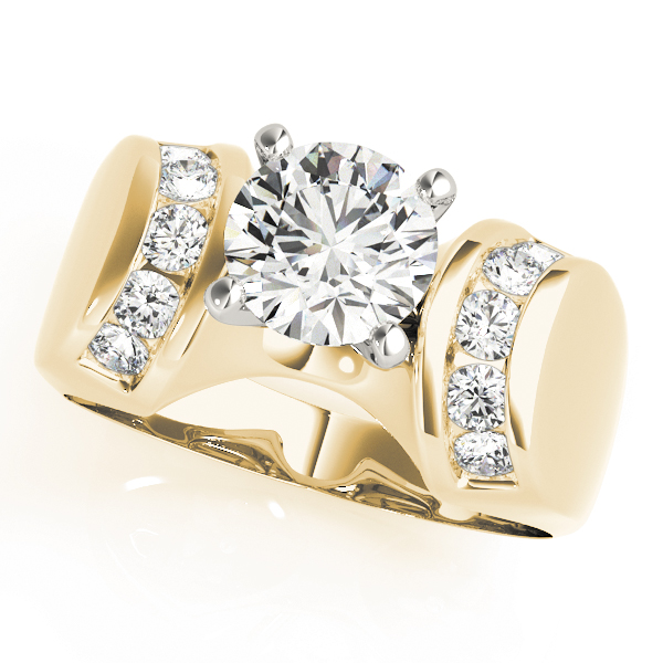 Huggie Channel Diamond Engagement Ring in Yellow Gold