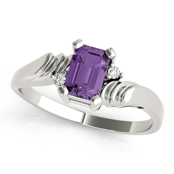 Emerald Purple Amethyst Swirl Ring