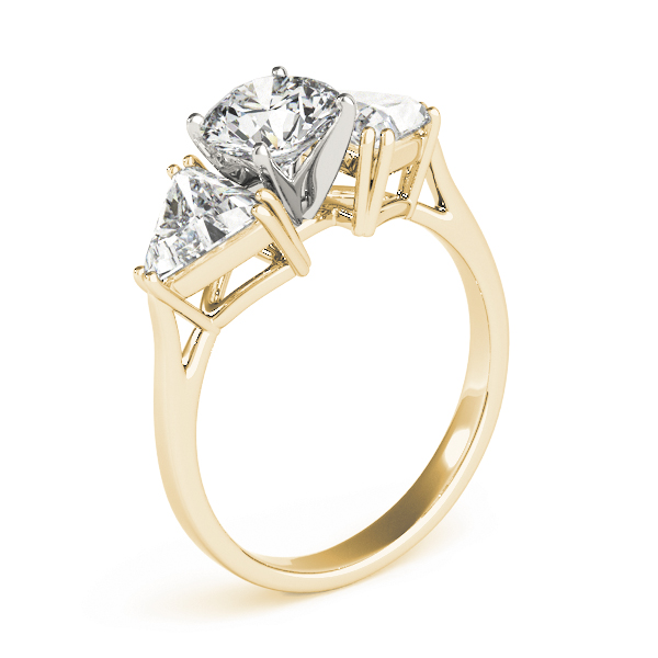 Three Stone Classic Round - Trillion Engagement Ring for Large Diamonds in Yellow Gold