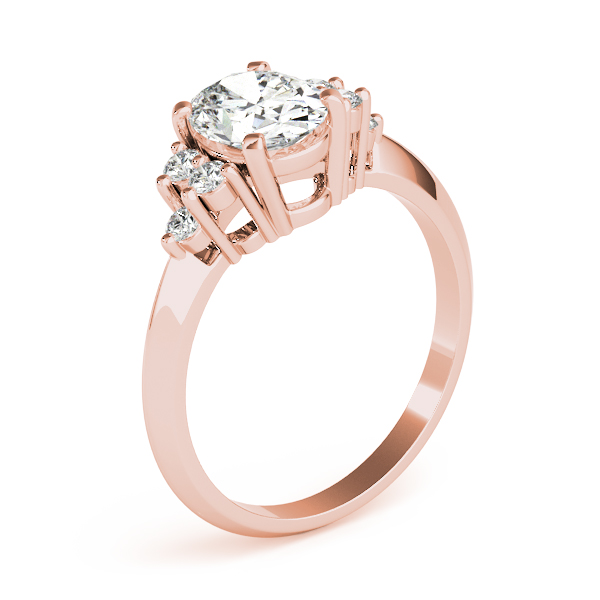 Oval Three Stone Cluster Diamond Ring Rose Gold