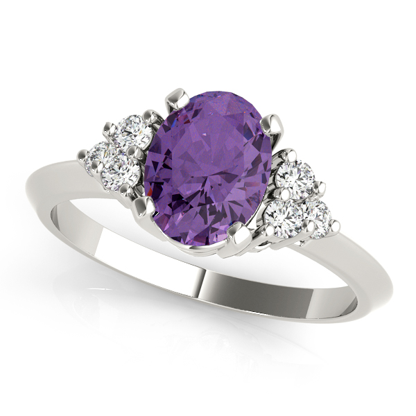 Oval Purple Amethyst Cluster Diamond Ring