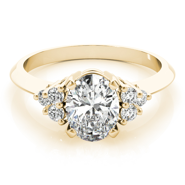 Oval Three Stone Cluster Diamond Ring Yellow Gold