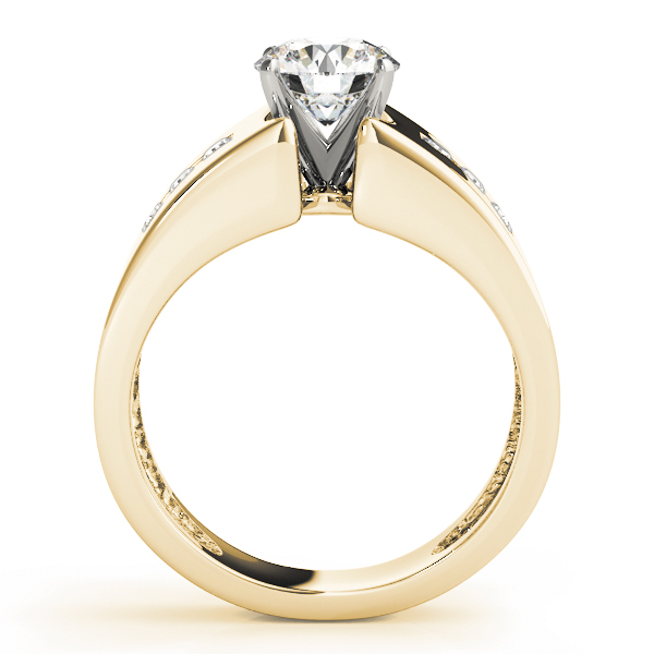 Wide diamond band Engagement ring, Yellow Gold