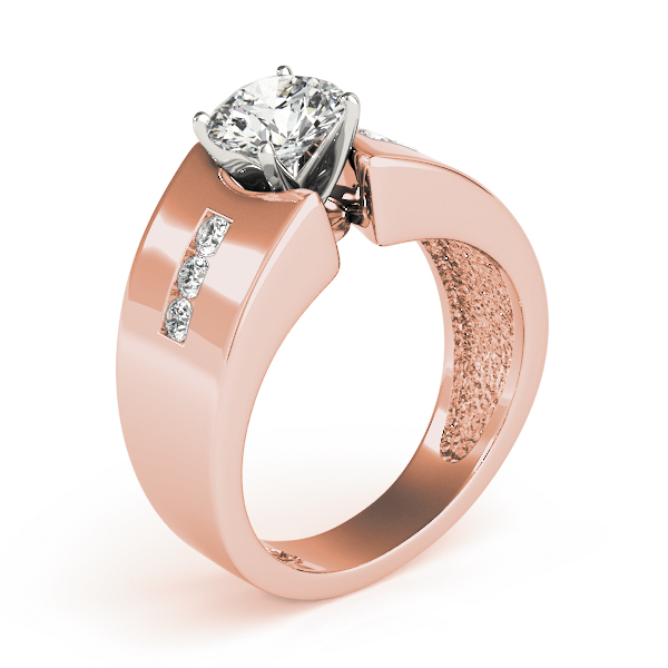 Wide diamond band Engagement ring, Rose Gold
