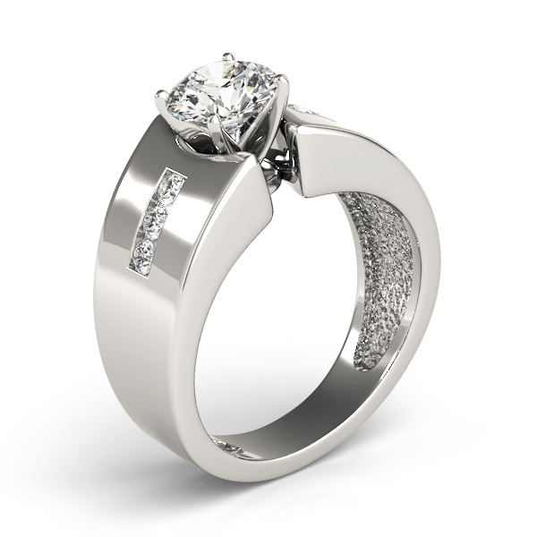 Wide diamond band Engagement ring