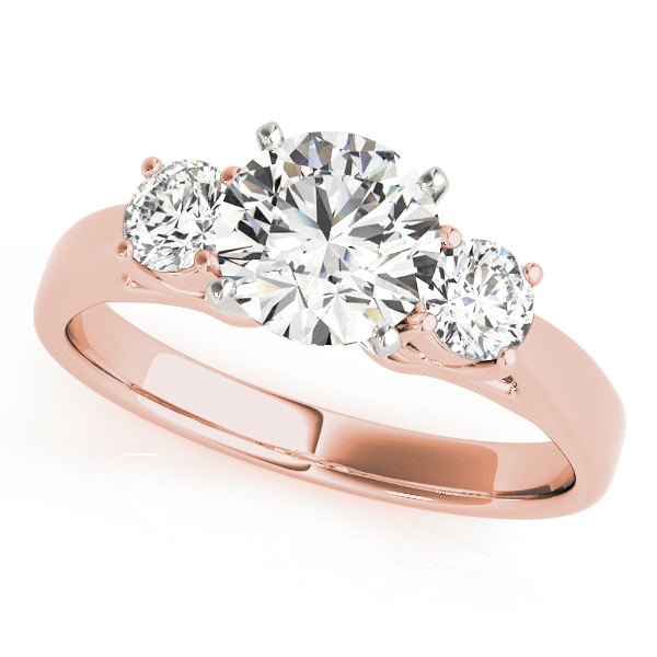 Classic Three Stone Diamond Petite Engagement Ring in Rose Gold