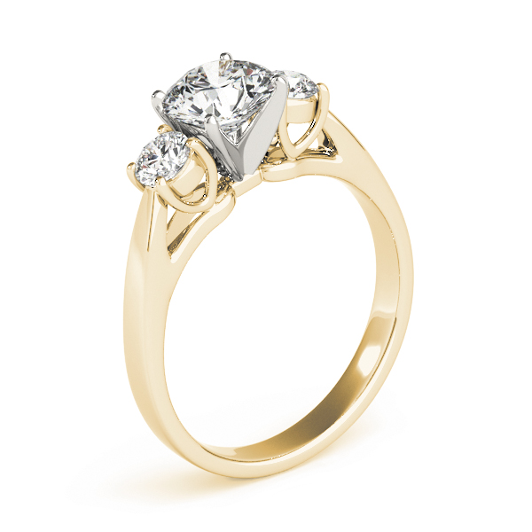 Classic Three Stone Diamond Petite Engagement Ring in Yellow Gold