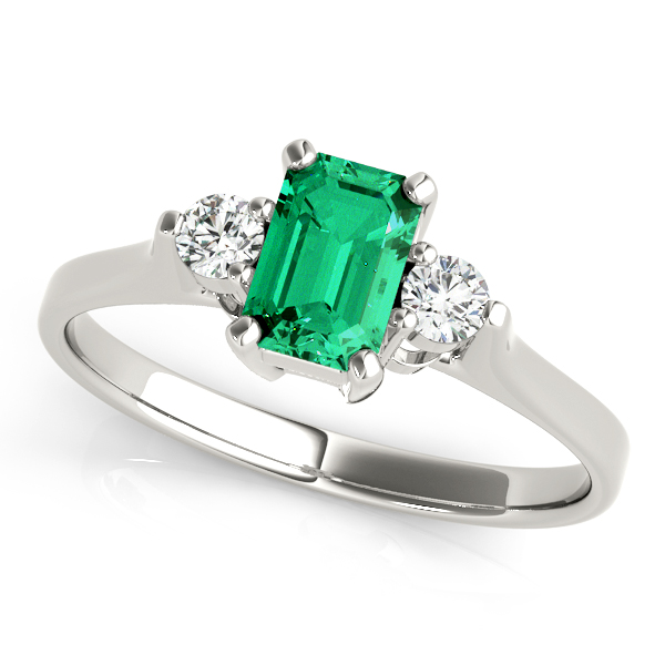 Green Emerald Diamond Three Stone Ring
