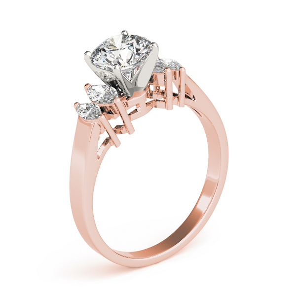 Cathedral Diamond Engagement Ring with Marquise Accent Diamonds in Rose Gold
