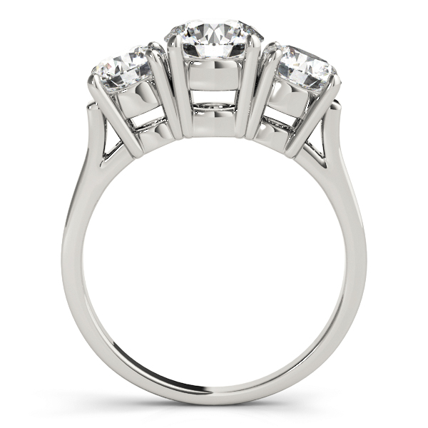 Classic Three Stone Cathedral Diamond Engagement Ring