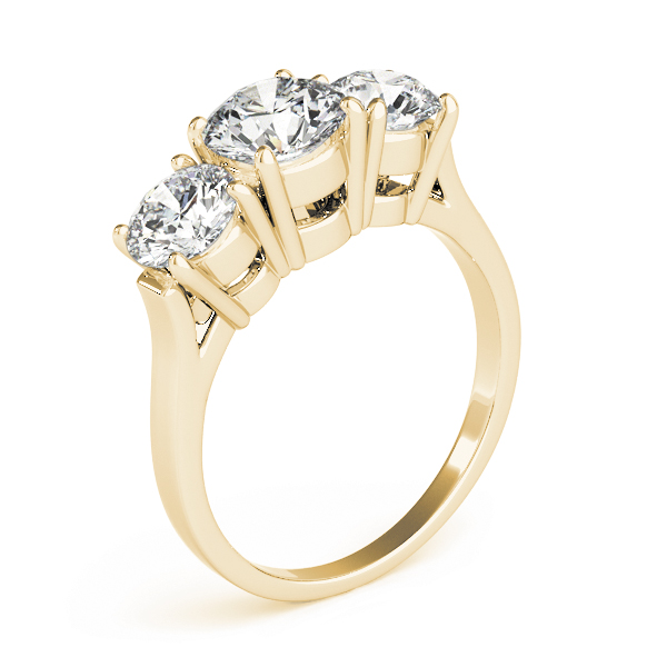 Classic Three Stone Cathedral Diamond Engagement Ring in Yellow Gold