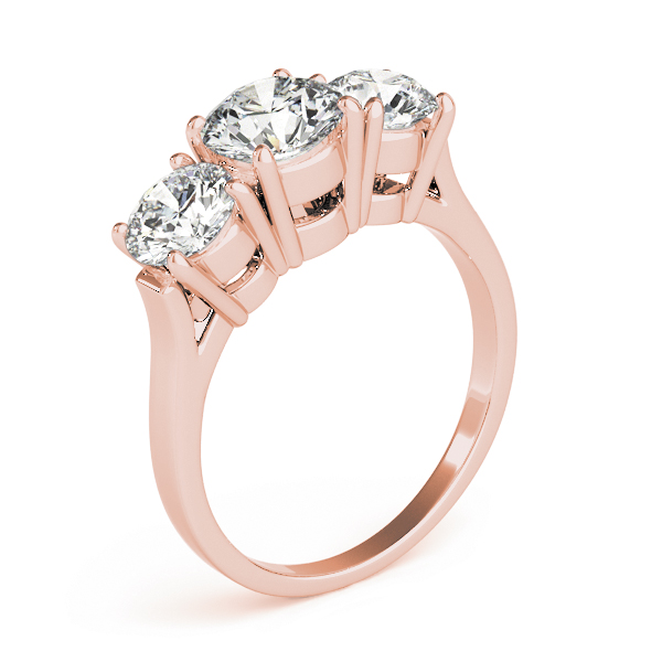 Classic Three Stone Cathedral Diamond Engagement Ring in Rose Gold