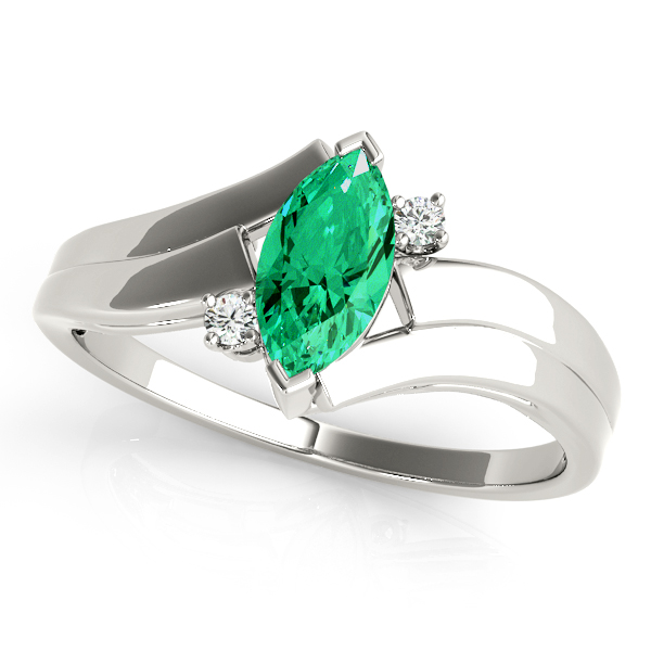 Marquise Green Emerald 3 Stone Swirl Ring