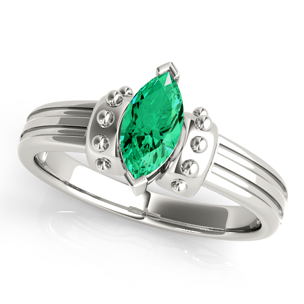 Marquise Green Emerald Spiked Ring