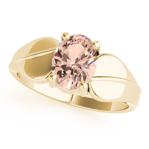Solitaire Oval Peach Morganite Swirl Ring Yellow Gold