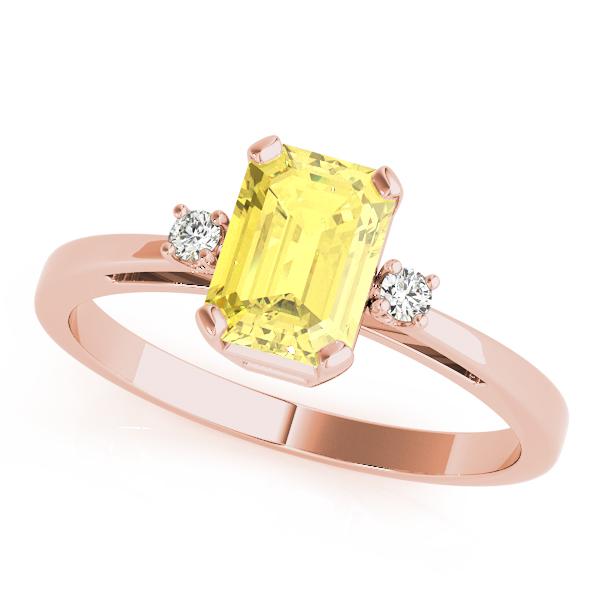 European Engagement Ring Emerald Cut Yellow Sapphire Ring Rose Gold Eres2459ysrg