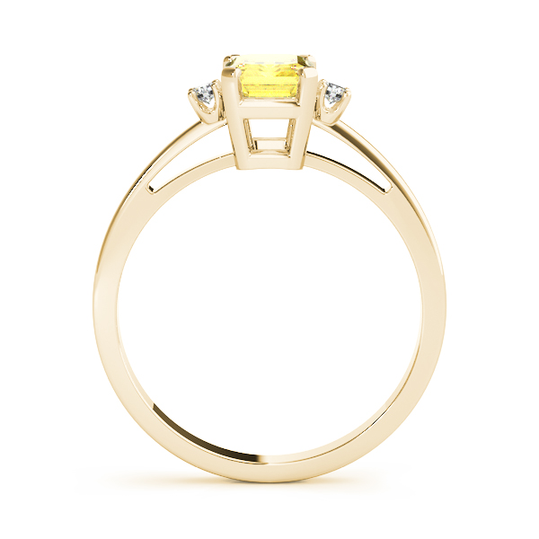 3 Stone Emerald Yellow Sapphire Ring Gold