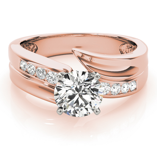 Swirl Channel Set Diamond Engagement Ring in Rose Gold