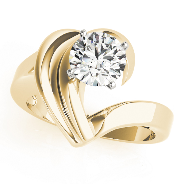 Solitaire Wave Engagement Ring in Yellow Gold