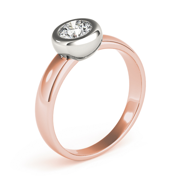 Classic Bezel Dome Solitaire Engagement Ring in Two-Tone