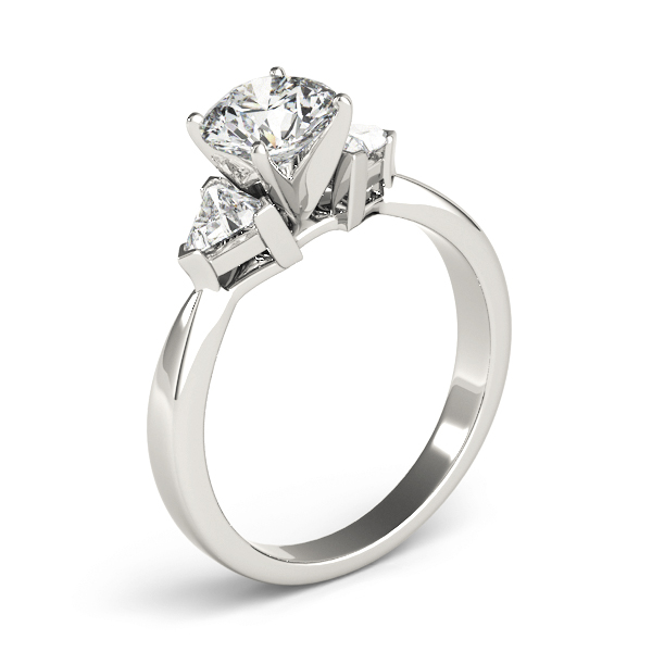 Three Stone Classic Trillion Engagement Ring - 4x4mm