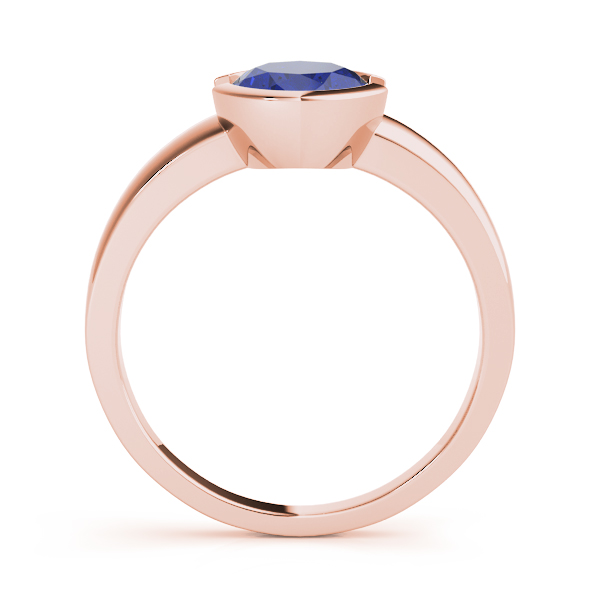 Bezel Oval Sapphire Ring Rose Gold