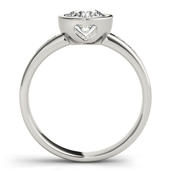 Petite Bezel Diamond Engagement Ring with Filigree