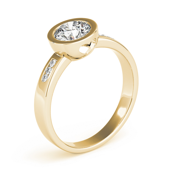 Petite Bezel Diamond Engagement Ring with Filigree Yellow Gold