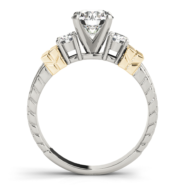 Three Stone Diamond Engagement Ring with Engraving in Two-Tone