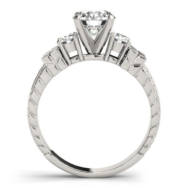 Three Stone Diamond Engagement Ring with Engraving