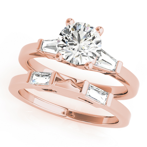 Baguette Diamond Bridal Set Rose Gold