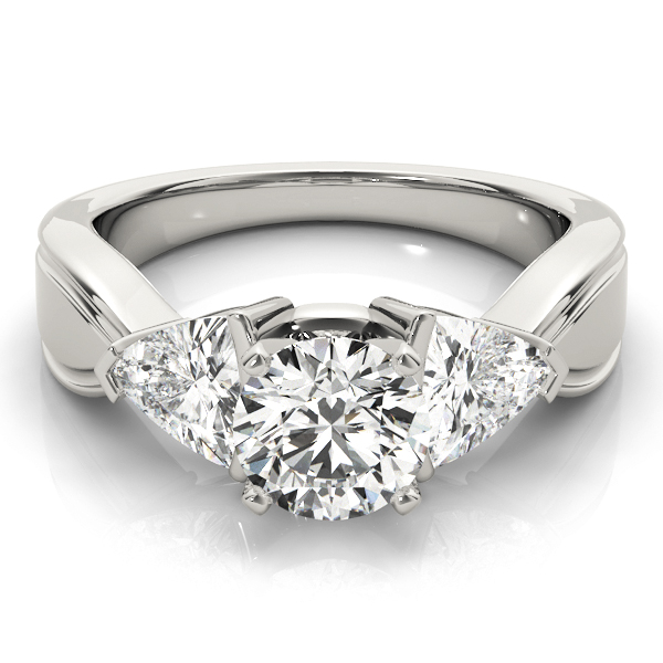 Three Stone Classic Trillion Cut Side Diamonds Engagement Ring