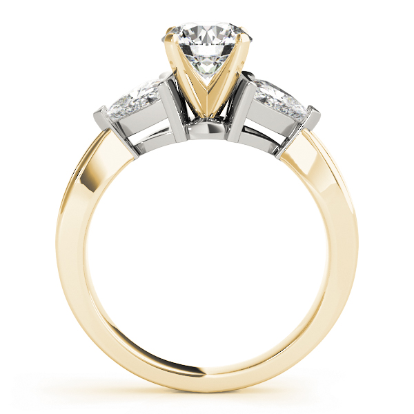 Three Stone Classic Trillion Cut Side Diamonds Engagement Ring in Two-Tone