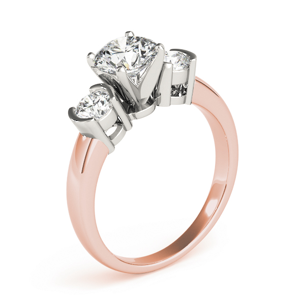 Three Stone Semi-Bezel Petite Diamond Engagement Anniversary Ring in Rose Gold