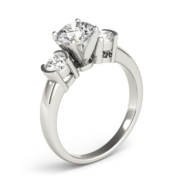 Three Stone Semi-Bezel Petite Diamond Engagement Anniversary Ring