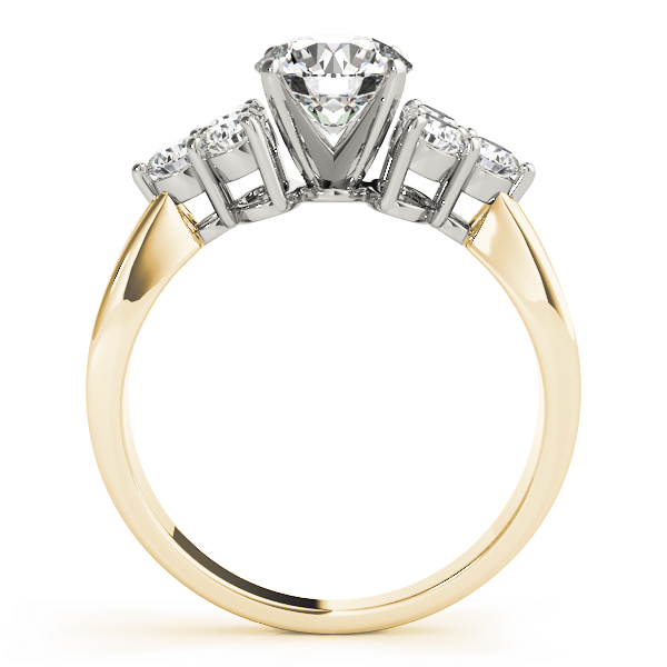 Trio Diamond Engagement Ring in Yellow-Gold
