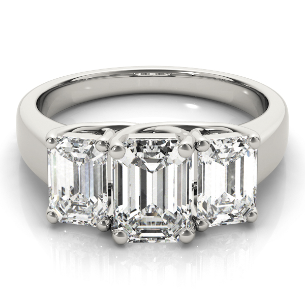 Three Stone Emerald Cut Diamond Engagement or Anniversary Ring