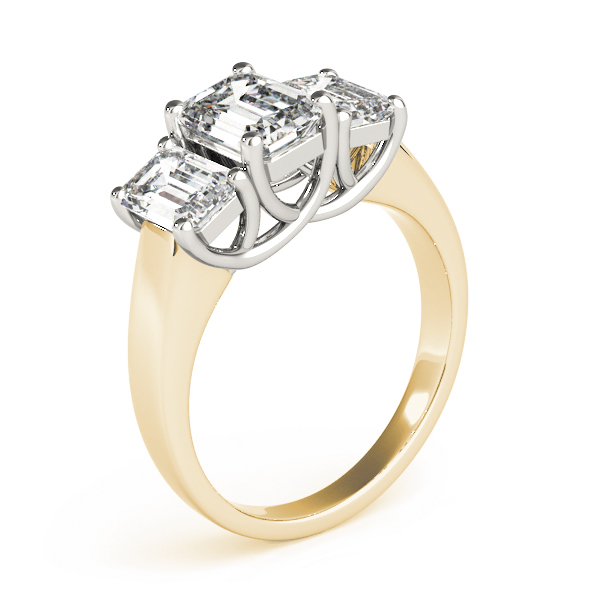 Three Stone Emerald Cut Diamond Engagement or Anniversary Ring in Yellow Gold