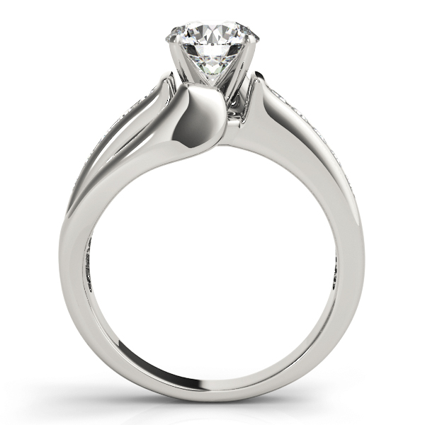 Swirl Split-Band Diamond Engagement Ring