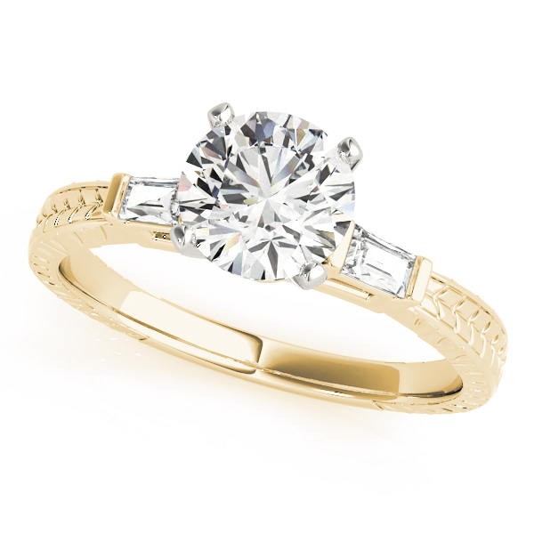 Three Stone Classic Diamond Engagement Ring with Baguettes in Yellow Gold