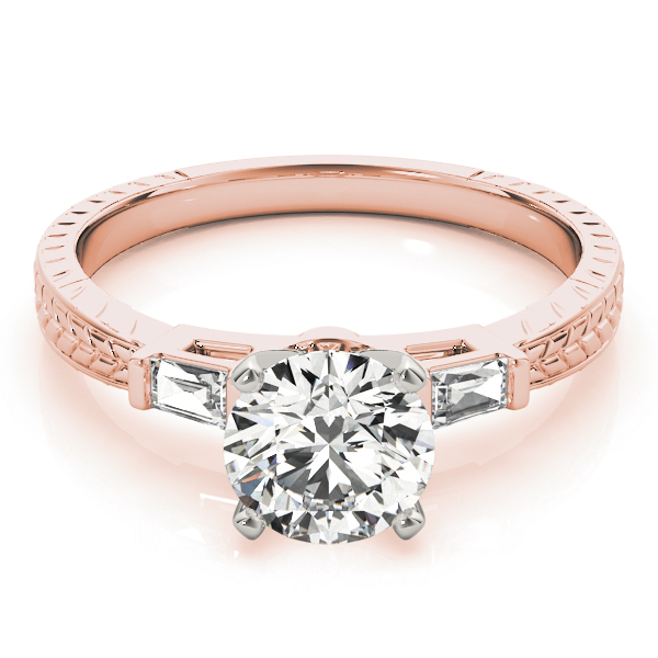 Three Stone Classic Diamond Engagement Ring with Baguettes in Rose Gold