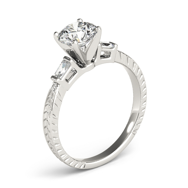 Three Stone Classic Diamond Engagement Ring with Baguettes