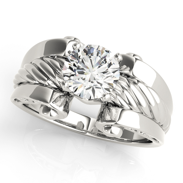 Solitaire Rope Engagement Ring, Wide band