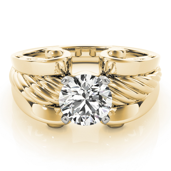 Solitaire Rope Engagement Ring, Wide band Yellow Gold