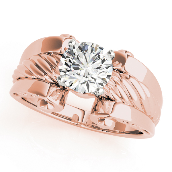 Solitaire Rope Engagement Ring, Wide band Rose Gold