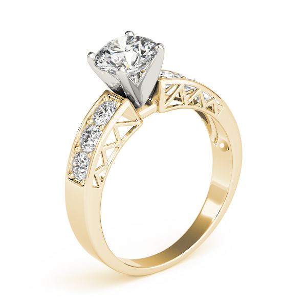 Vintage Pave Diamond Engagement Ring with Filigree in Yellow Gold