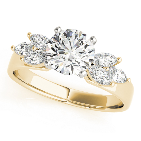 Open Petals Diamond Engagement Ring in Yellow Gold