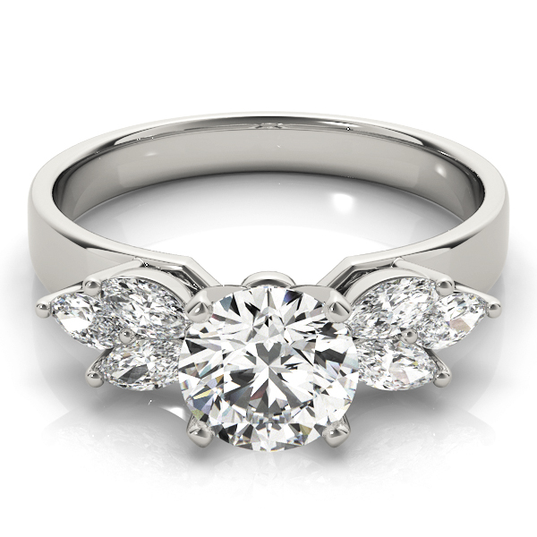 Open Petals Diamond Engagement Ring